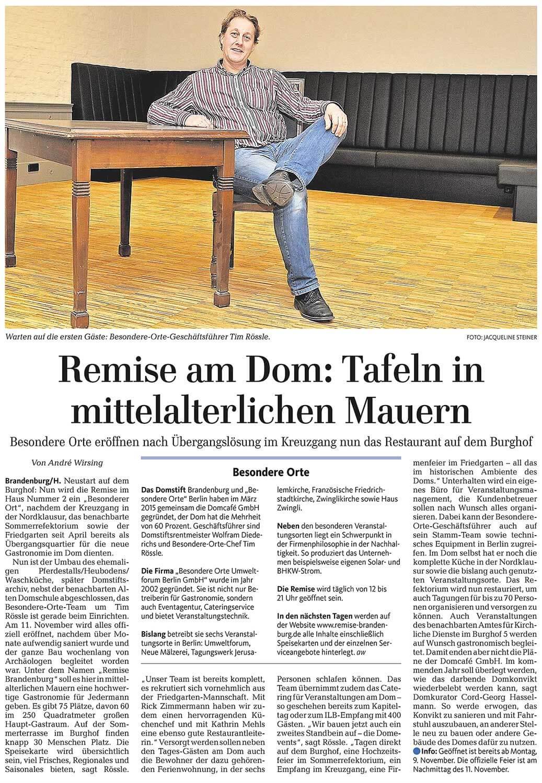 Artikel über die Remise in der Märkischen Allgemeinen Zeitung am 05.11.2015 (Seite 28)
