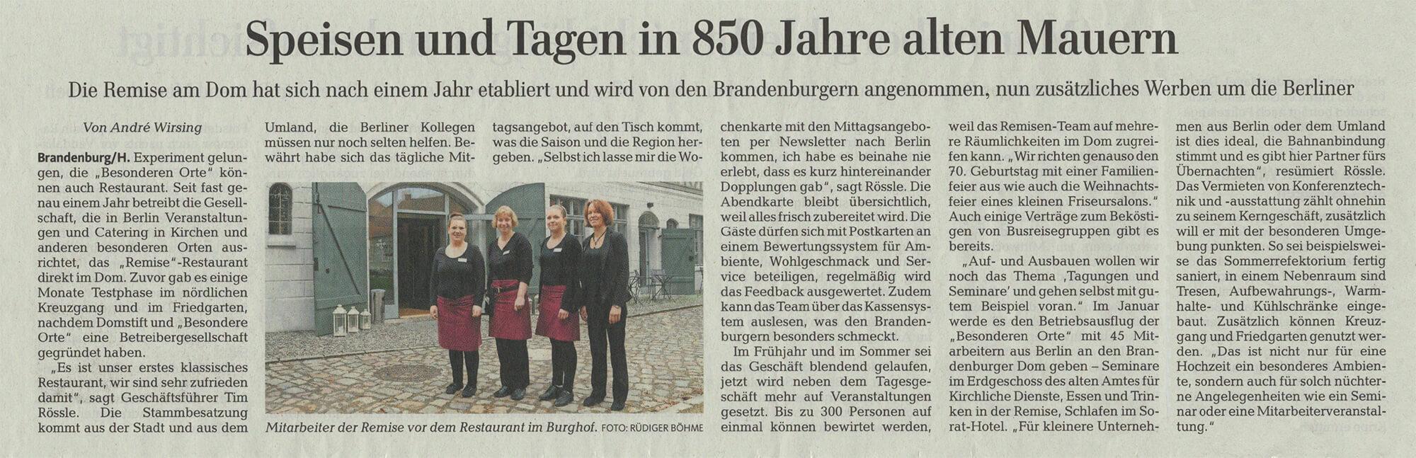 Artikel über die Remise in der Märkischen Allgemeinen Zeitung am 27.10.2016 (Seite 20)